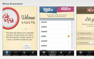Die iPhone App «Kick to Pick» hilft Eltern, den passenden Vornamen für ihr Baby zu finden.