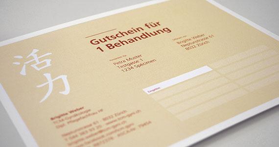 Geschenkgutschein für eine Behandlung bei Brigitte Weber TCM-Gynäkologie 8032 Zürich