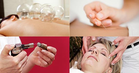 Schröpfen, Akupunktur, Moxa, Akupressur